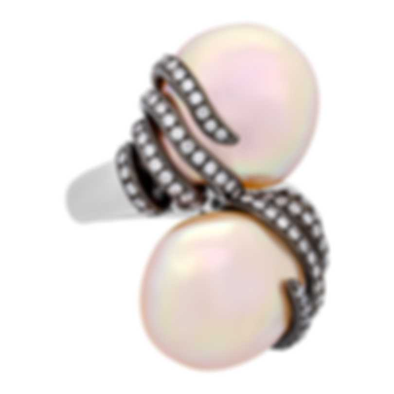 Assael 18k White Gold Diamond 0.73ct And Pearl Ring Sz 6 R4003