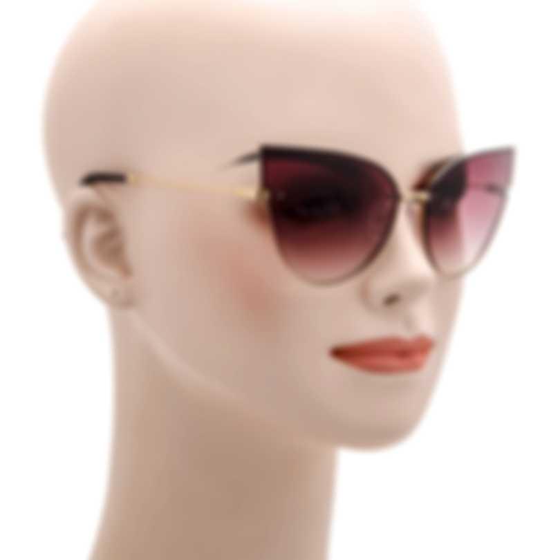 BCBG Gold & Wine Cat Eye Sunglasses BA4006-718