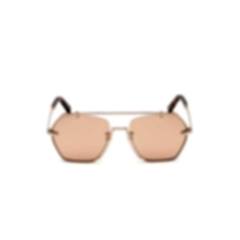 Bally Shiny Rose Gold & Gold Geometric Sunglasses BY0011-H-5728Z