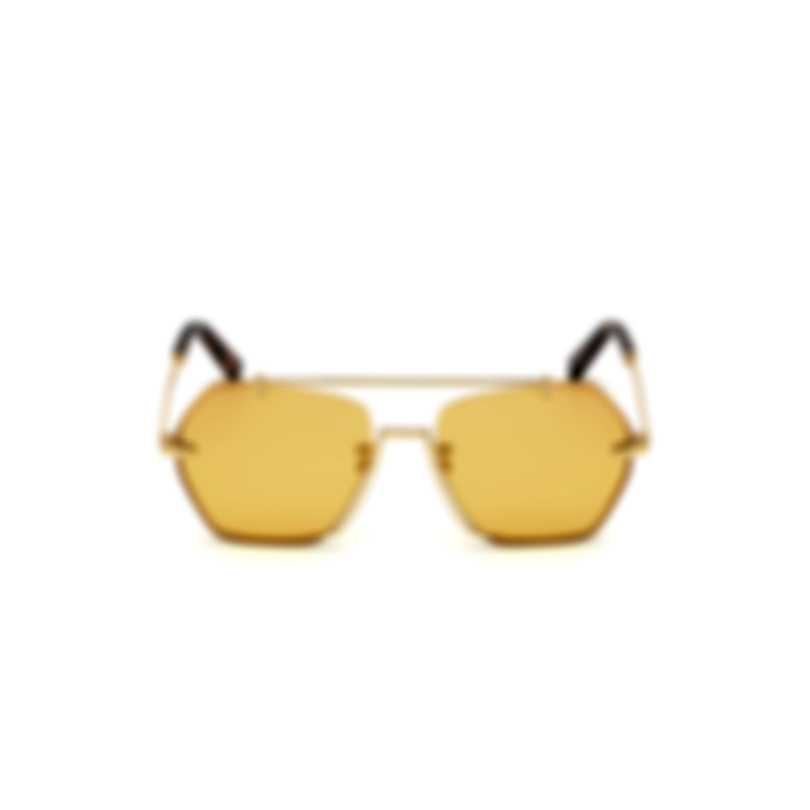 Bally Shiny Deep Gold & Yellow Geometric Sunglasses BY0011-H-5730E