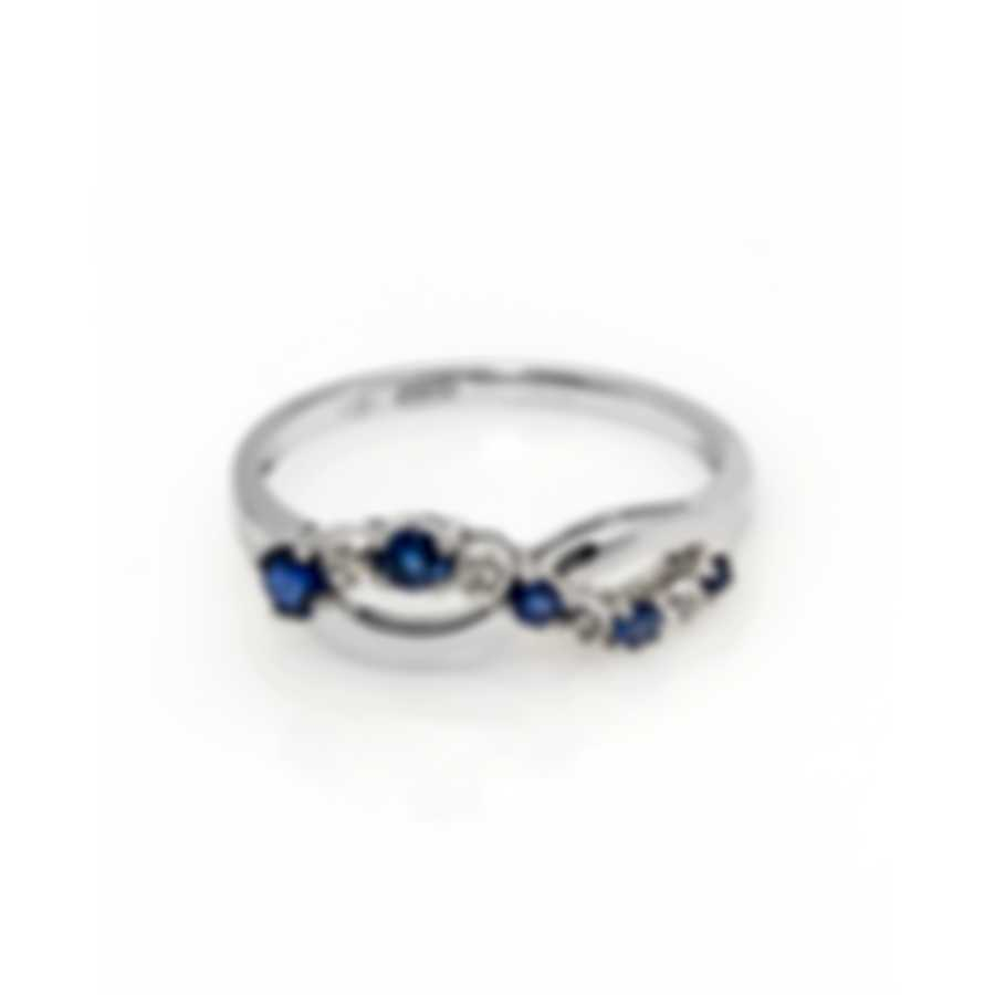 Bliss By Damiani 18k White Gold Diamond 0.03ct And Sapphire Ring Sz 7 20044113