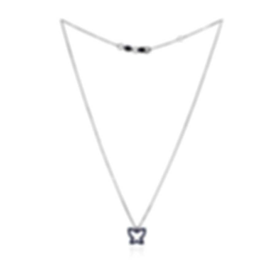 Bliss By Damiani 18k White Gold Diamond 0.005ct And Sapphire Necklace 20047224