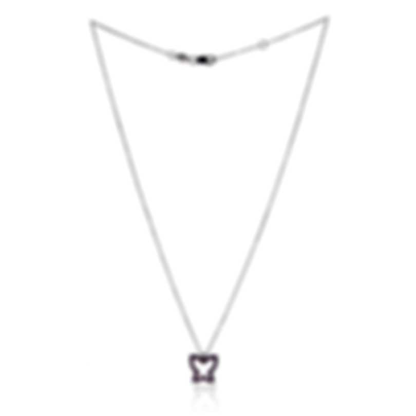 Bliss By Damiani 18k White Gold Diamond 0.005ct And Ruby Necklace 20047255