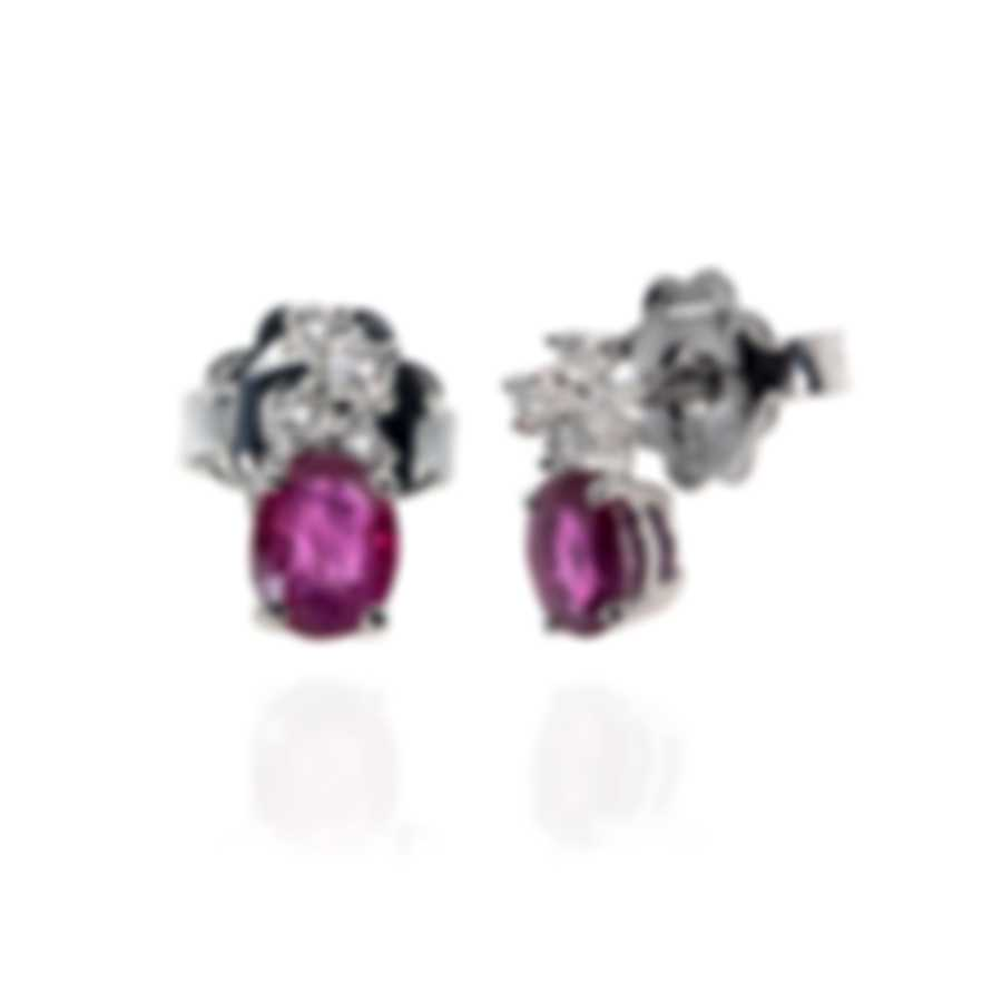 Bliss By Damiani 18k White Gold Diamond 0.1ct And Ruby Earrings 20041206