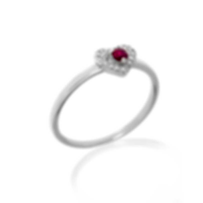 Bliss By Damiani 18k White Gold Diamond 0.06ct And Ruby Ring Sz 6.5 20054266
