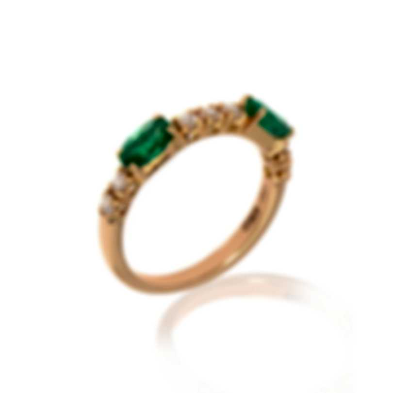 Bliss By Damiani 18k Rose Gold Diamond 0.26ct And Emerald Ring Sz 6.25 20064205