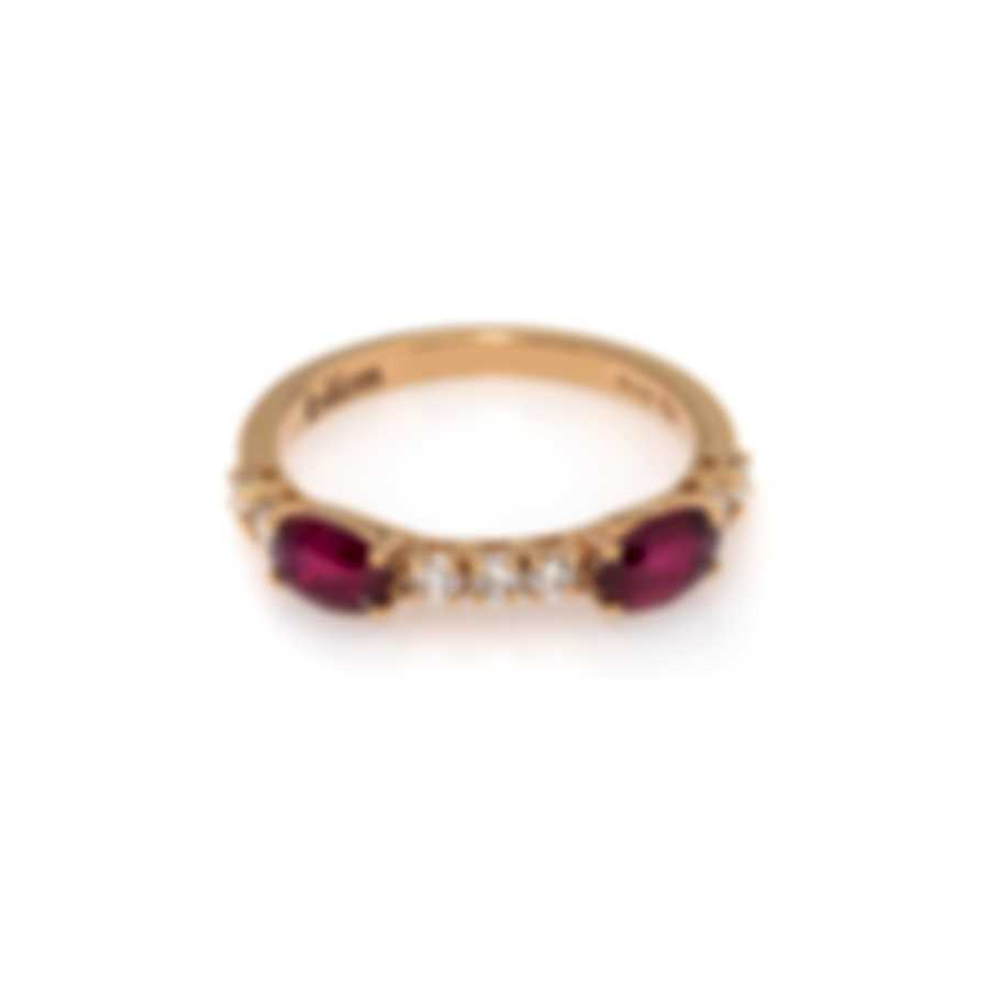 Bliss By Damiani 18k Rose Gold Diamond 0.26ct And Ruby Ring 20064203