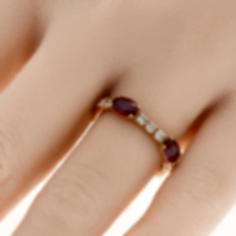 Bliss By Damiani 18k Rose Gold Diamond 0.26ct And Ruby Ring 20064203-1
