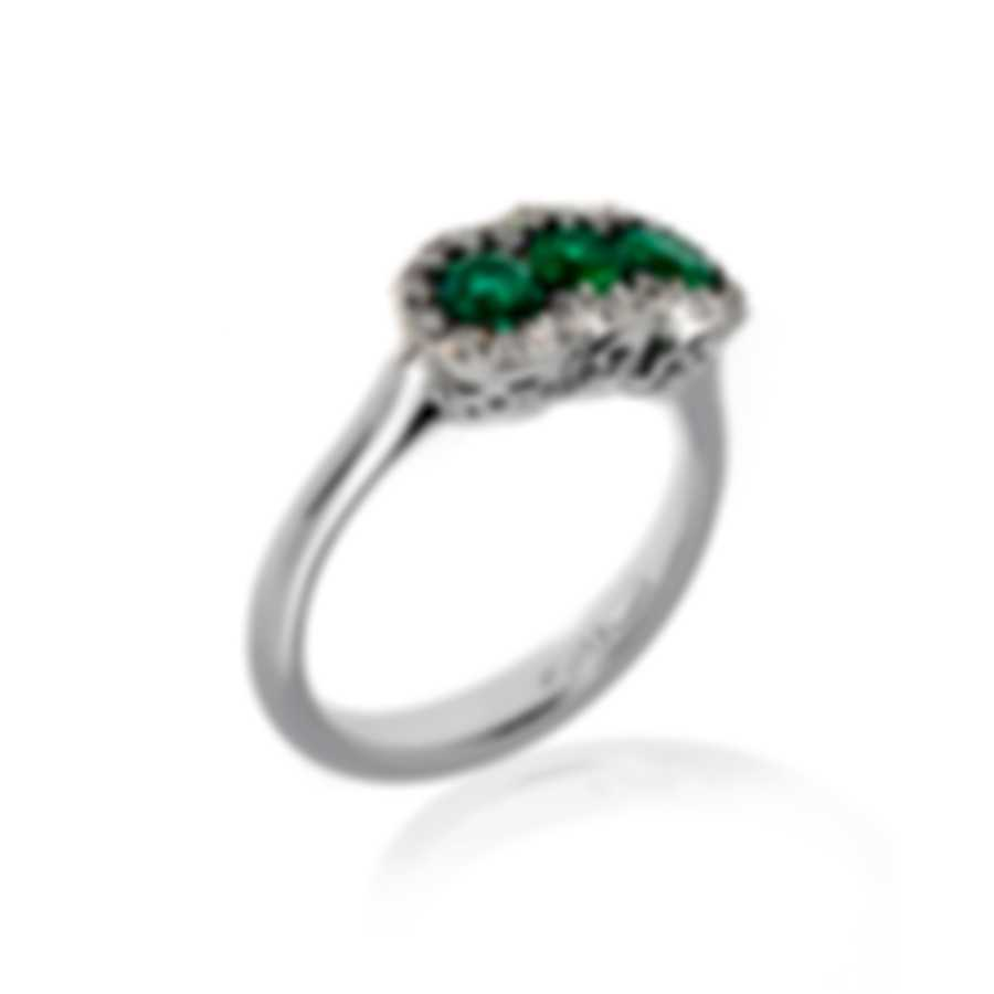 Bliss By Damiani 18k White Gold Diamond 0.33ct And Emerald Ring Sz 7 20064324