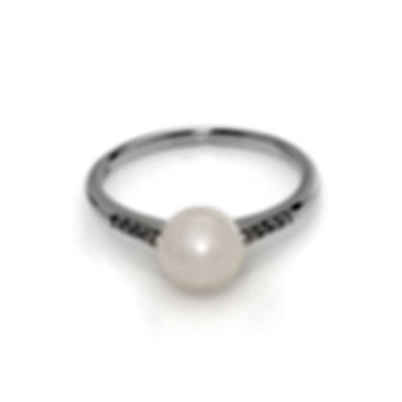 Bliss By Damiani 18k White Gold Diamond 0.03ct And Pearl Ring Sz 6.25 20066977