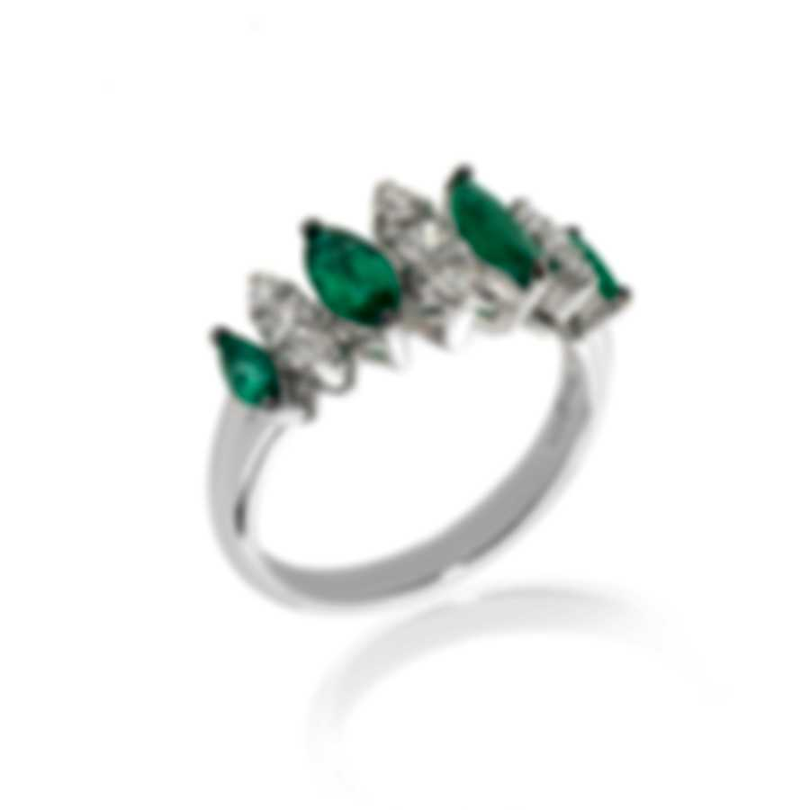 Bliss By Damiani 18k White Gold Diamond 0.39ct & Emerald Ring Sz 6.25 20067184