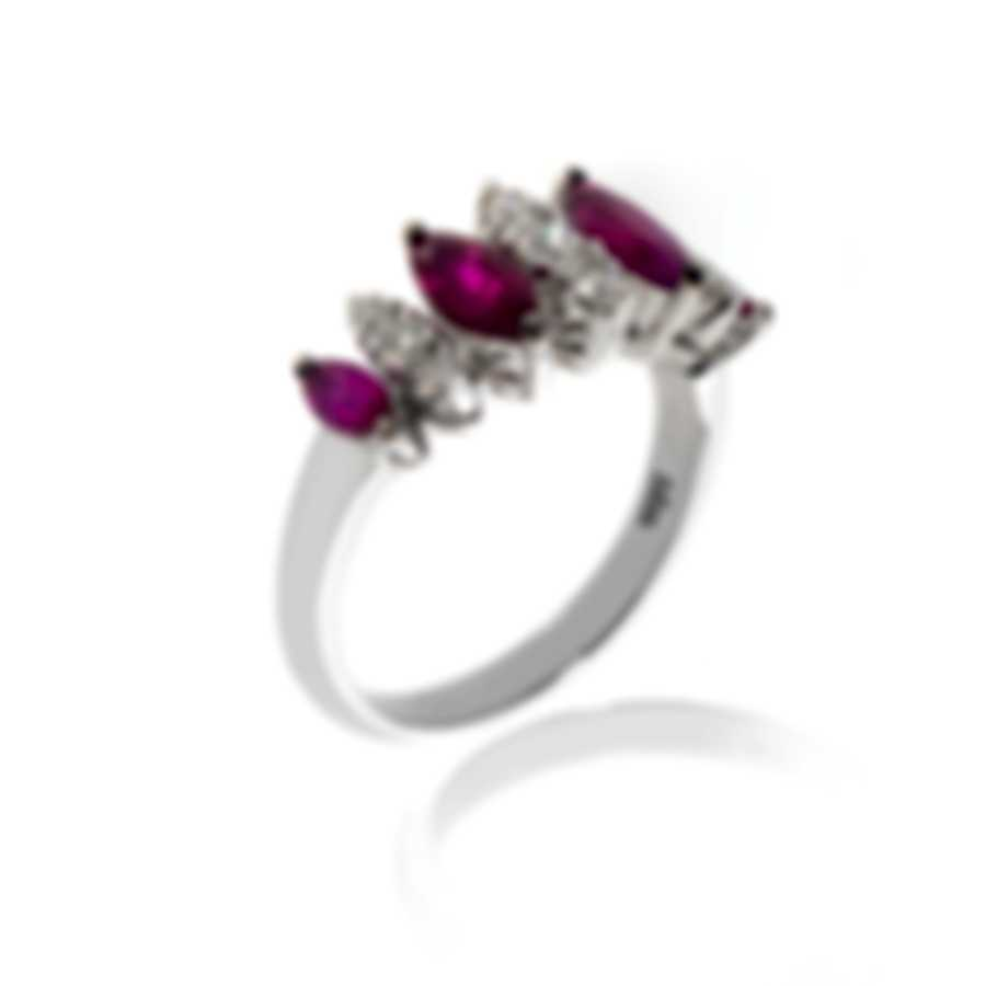 Bliss By Damiani 18k White Gold Diamond 0.39ct And Ruby Ring Sz 6.25 20067182