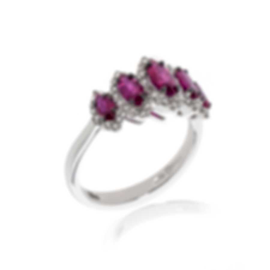 Bliss By Damiani 18k White Gold Diamond 0.34ct And Ruby Ring Sz 6.25 20067197