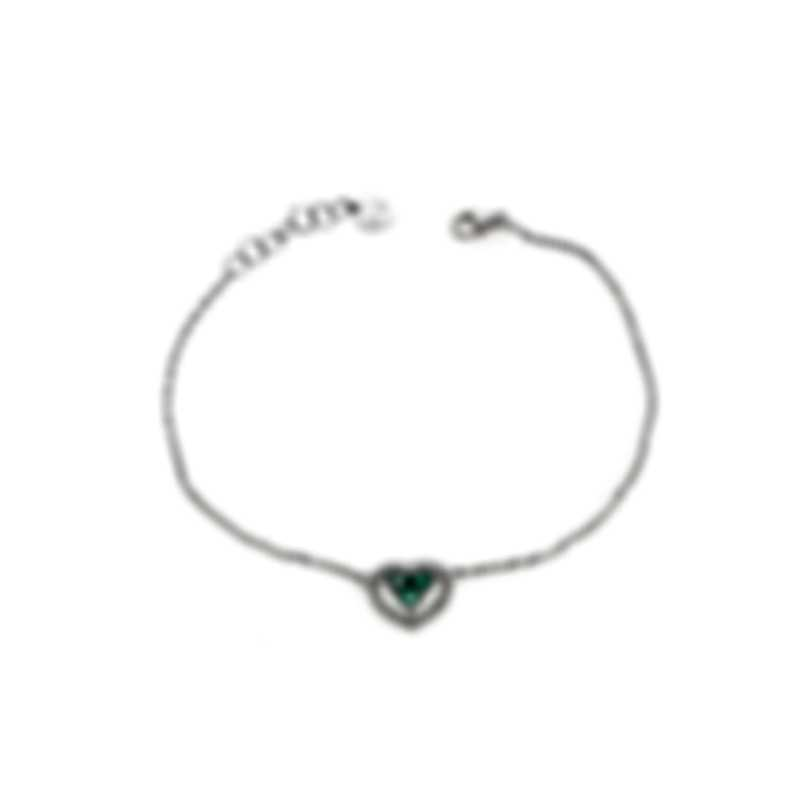 Bliss By Damiani 18k White Gold Diamond 0.09ct And Emerald Bracelet 20067483