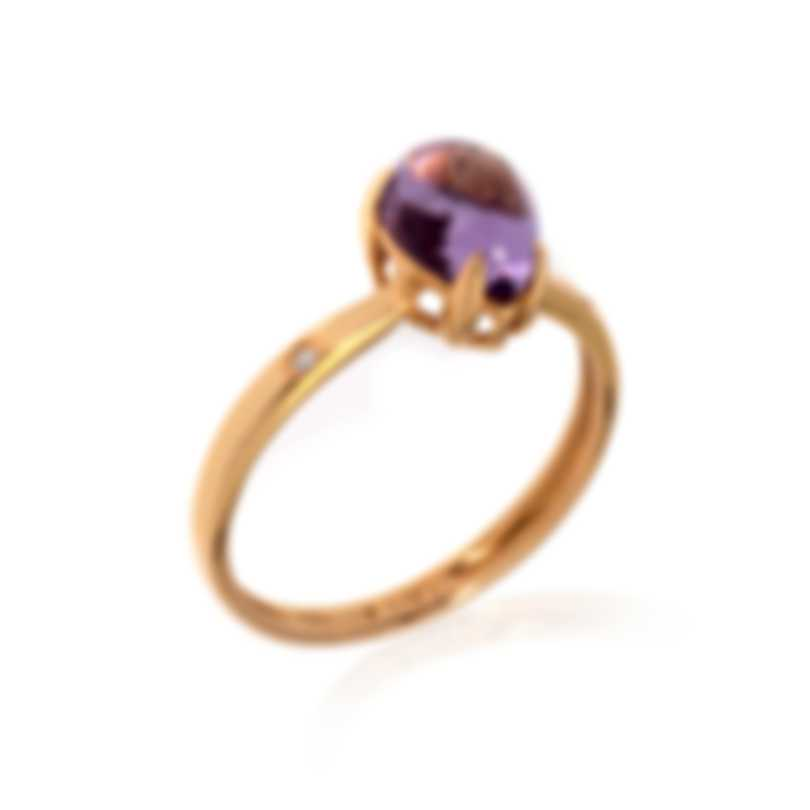 Bliss By Damiani 18k Rose Gold Diamond 0.01ct And Amethyst Ring 20069640-1-2