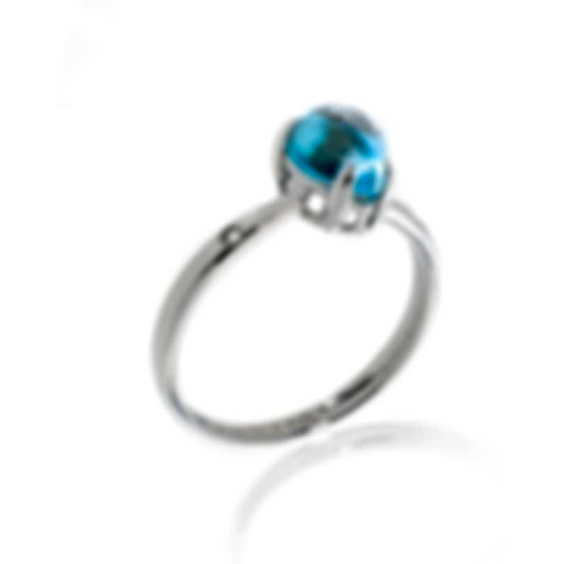 Bliss By Damiani 18k White Gold Diamond 0.01ct And Blue Topaz Ring 20069641-1
