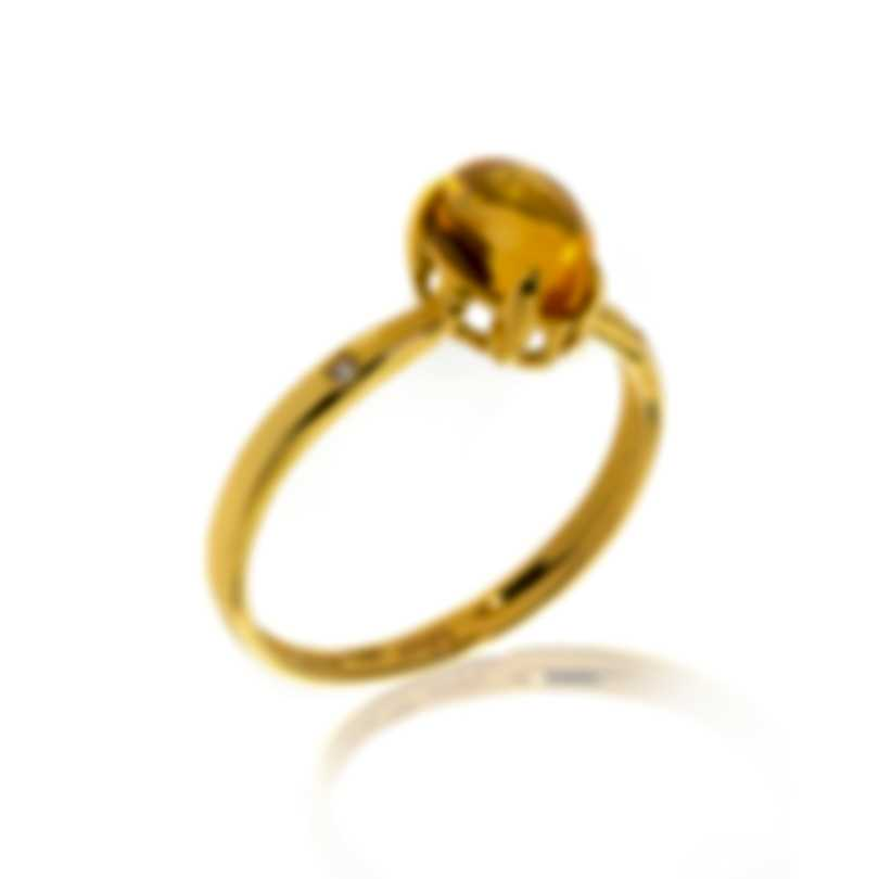 Bliss By Damiani 18k Yellow Gold Diamond 0.01ct And Citrine Ring 20069642-1-1