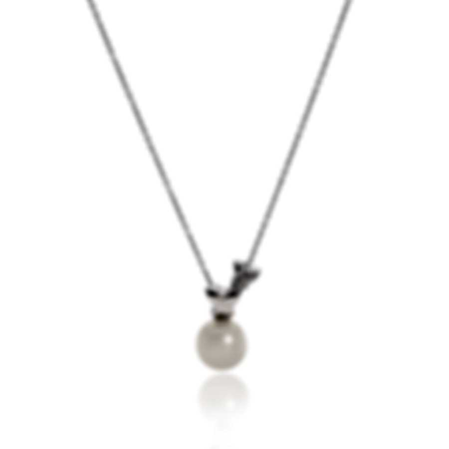 Bliss By Damiani 18k White Gold Diamond 0.03ct And Pearl Necklace 20061939