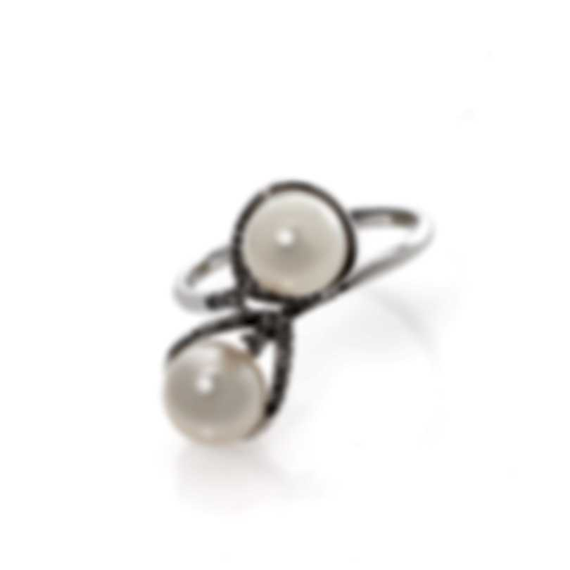 Bliss By Damiani 18k White Gold Diamond 0.1ct And Pearl Ring 20061943-1-1