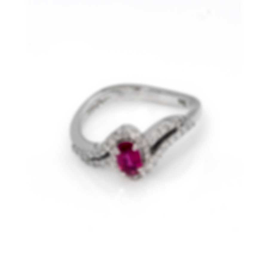 Bliss By Damiani 18k White Gold Diamond 0.34ct And Ruby Ring Sz 7.25 20062605