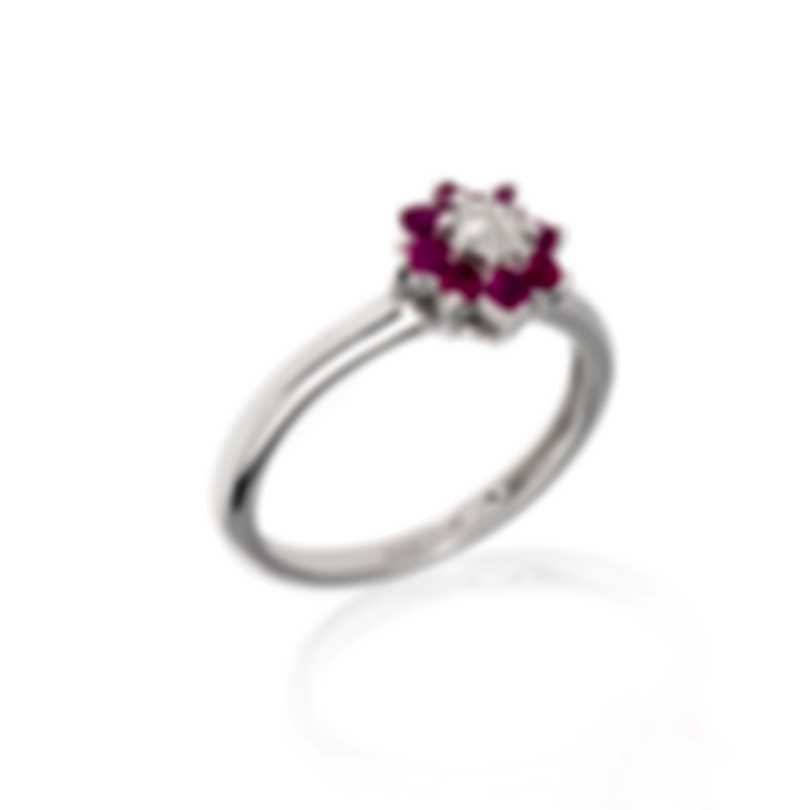 Bliss By Damiani 18k White Gold Diamond 0.025ct And Ruby Ring Sz 6.25 20075529