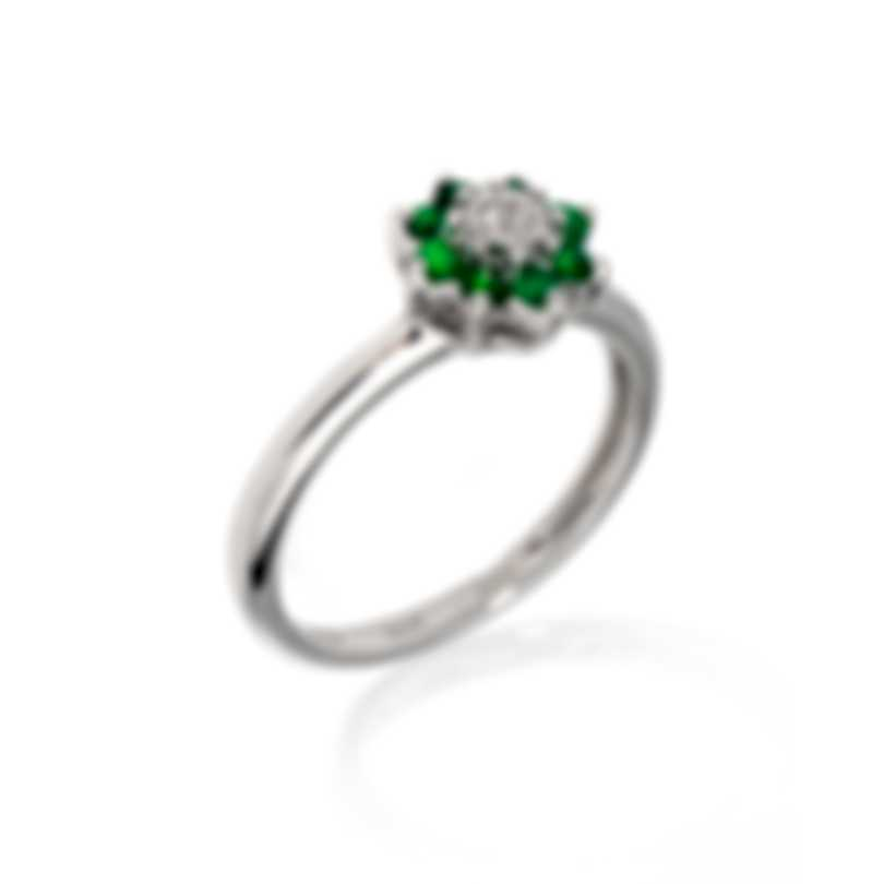 Bliss By Damiani 18k White Gold Diamond 0.025ct & Emerald Ring Sz 6.25 20075532