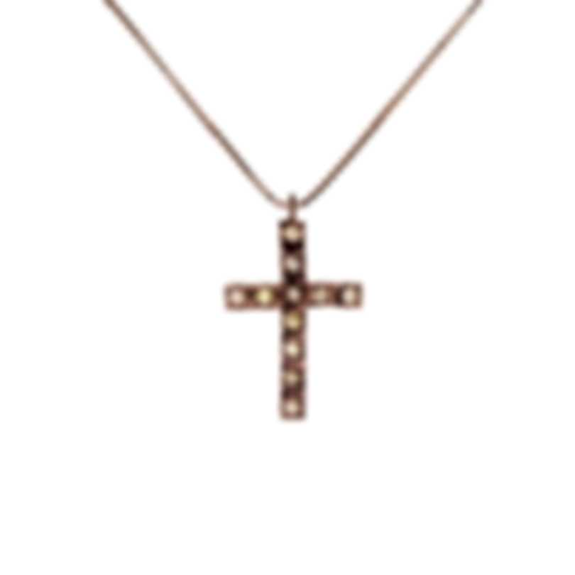 Bliss By Damiani 18k Rose Gold Brown Diamond 0.176ct Cross Necklace 20077237