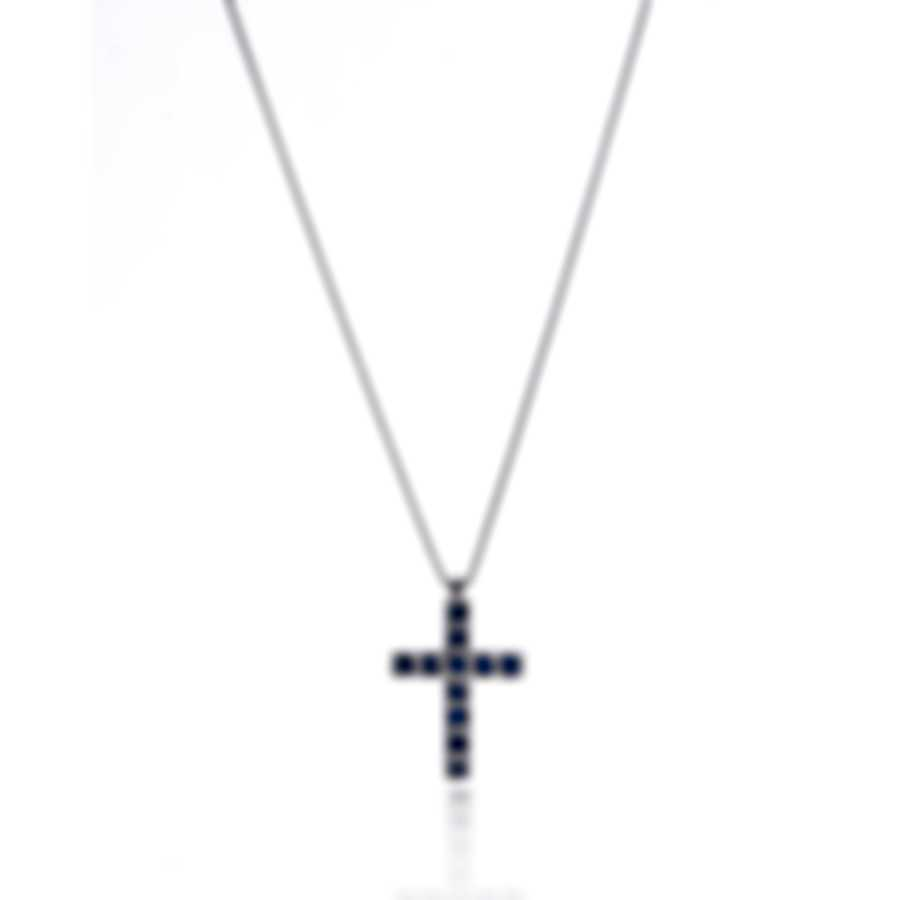 Bliss By Damiani 18k White Gold And Sapphire Cross Necklace 20077245