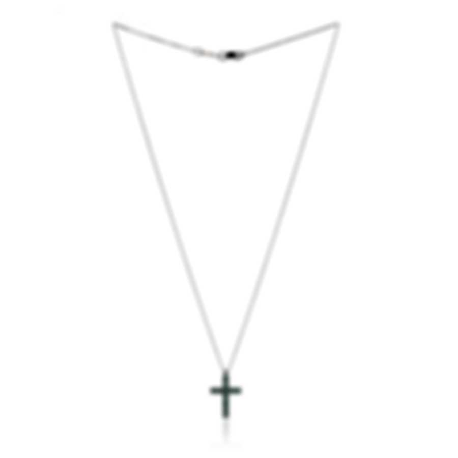 Bliss By Damiani 18k White Gold And Emerald Cross Necklace 20077250