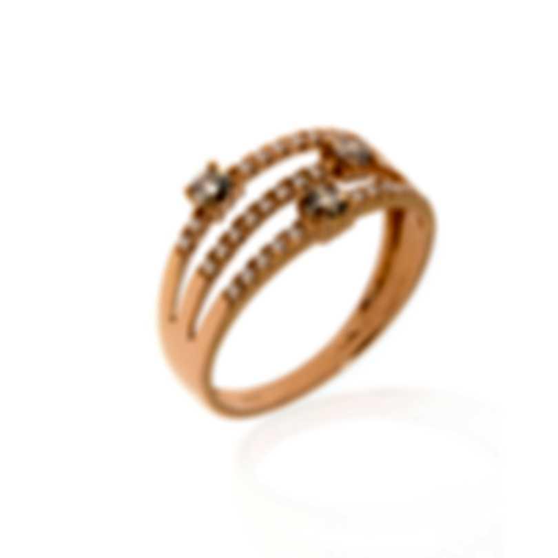 Bliss By Damiani 18k Rose Gold Brown White Diamond 0.38ct Ring Sz 6.25 20077841