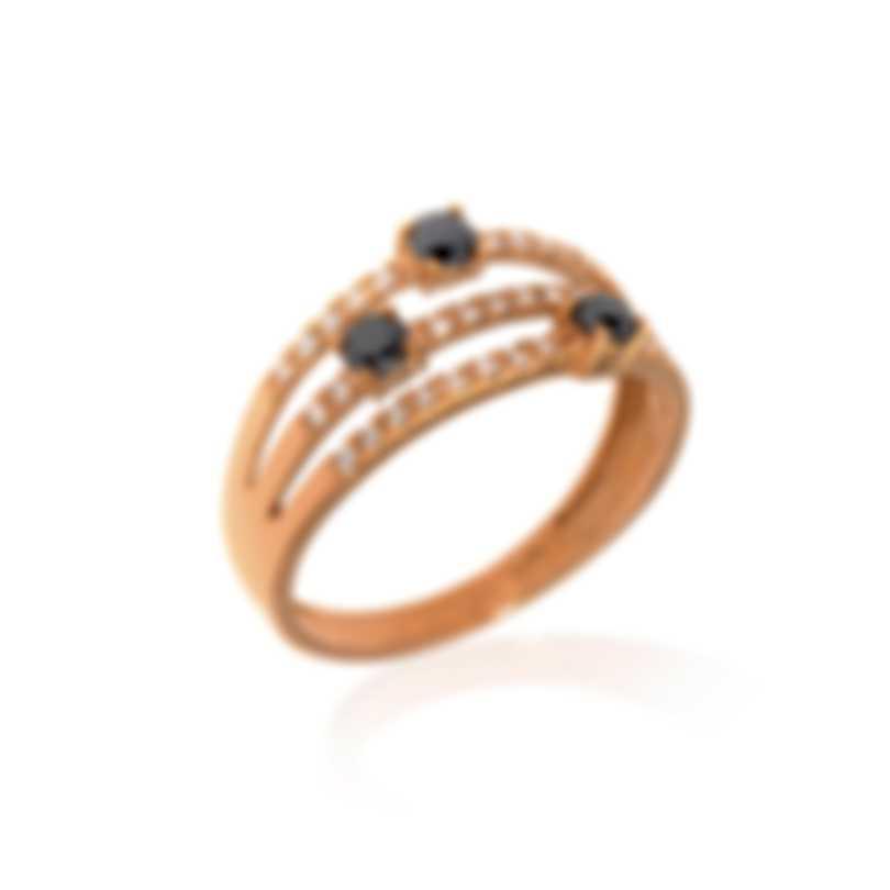 Bliss By Damiani 18k Rose Gold Black White Diamond Ring Sz 6.25 20077842