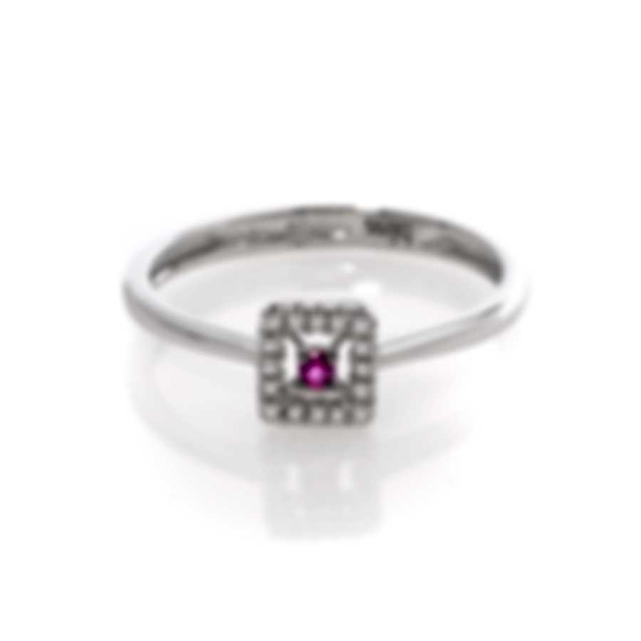 Bliss By Damiani 18k White Gold Diamond 0.05ct And Ruby Ring Sz 6.25 20070666