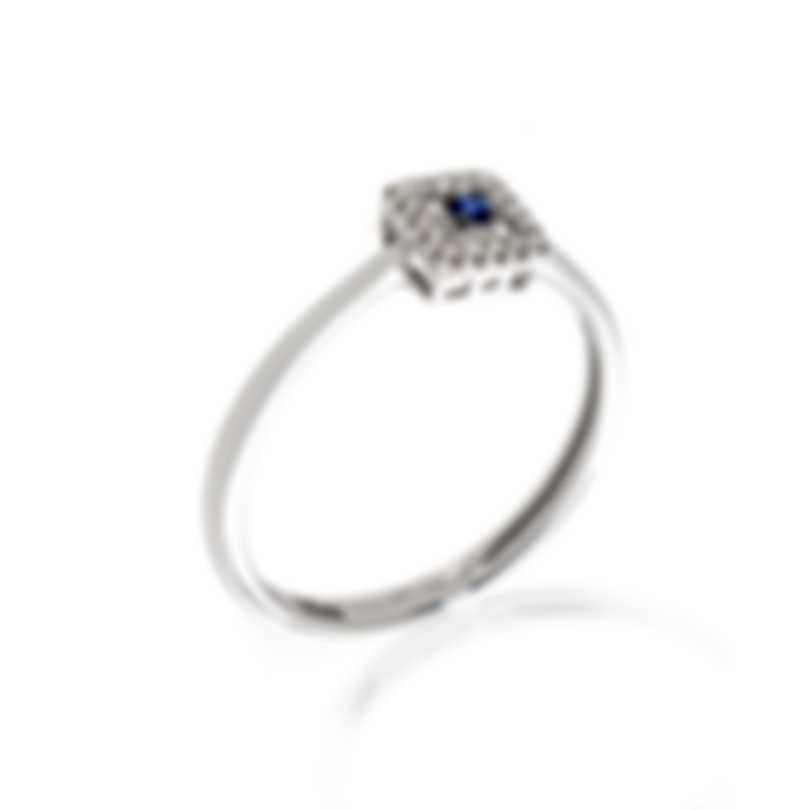 Bliss By Damiani 18k White Gold Diamond 0.05ct & Sapphire Ring Sz 6.25 20070661