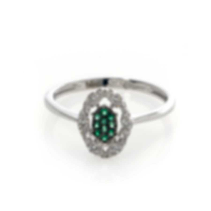 Bliss By Damiani 18k White Gold Diamond 0.18ct And Emerald Ring 20070727-2