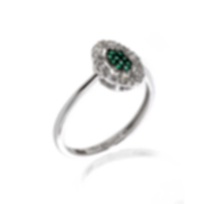 Bliss By Damiani 18k White Gold Diamond 0.18ct And Emerald Ring 20070727-1