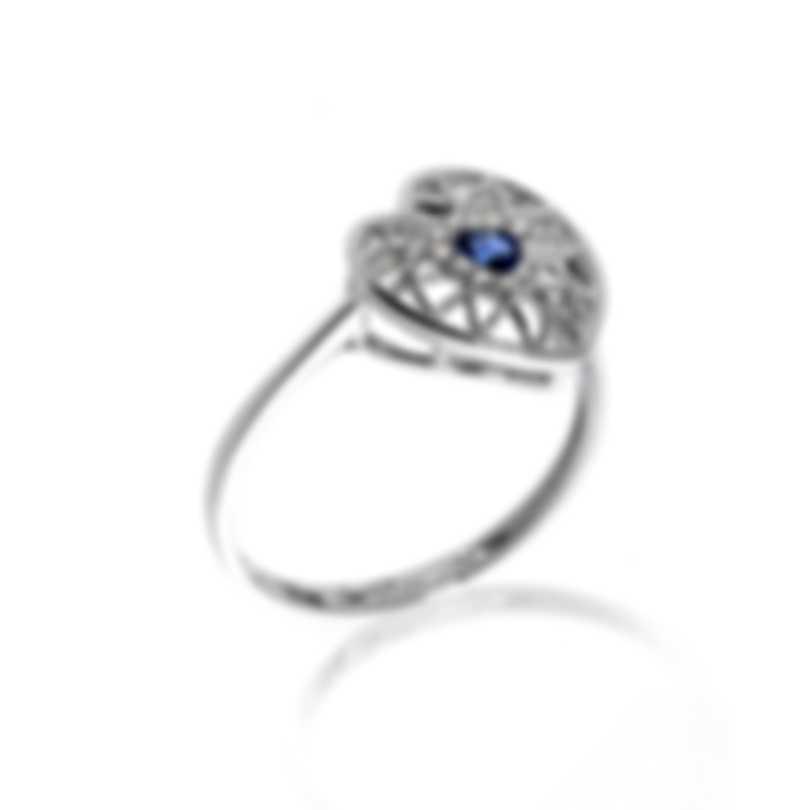 Bliss By Damiani 18k White Gold Diamond 0.04ct & Sapphire Ring Sz 6.25 20070733