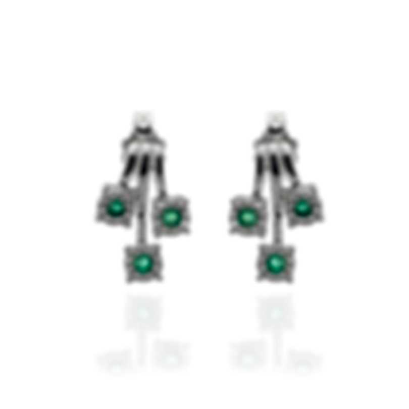 Bliss By Damiani 18k White Gold Diamond 0.15ct And Emerald Earrings 20072480