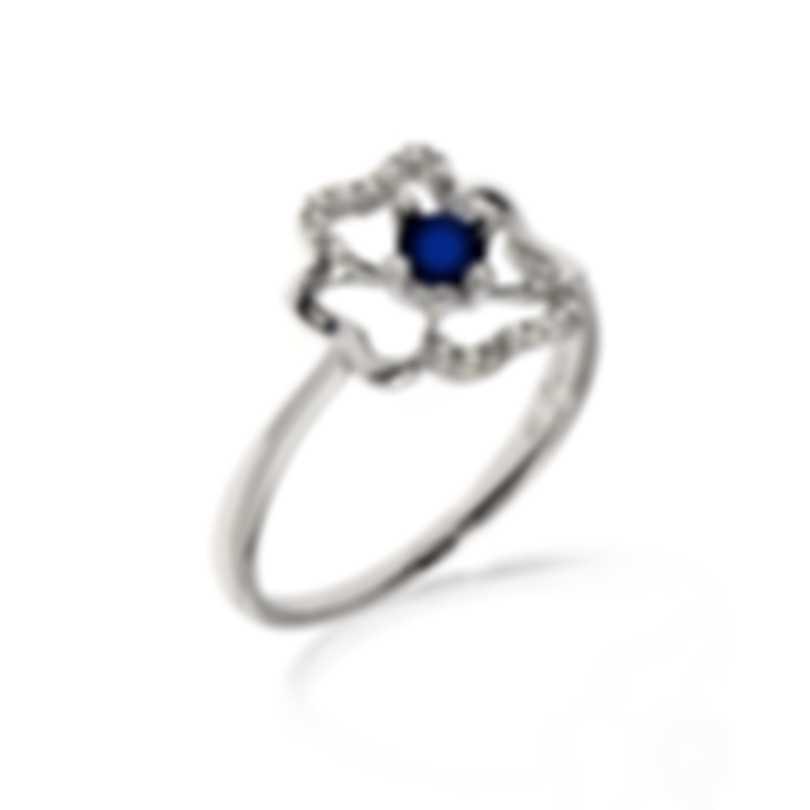 Bliss By Damiani 18k White Gold Diamond 0.11ct & Sapphire Ring Sz 6.25 20073800