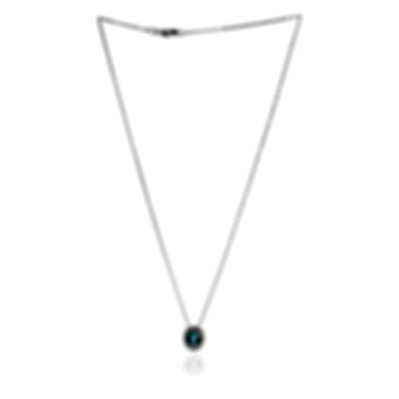 Bliss By Damiani 18k White Gold Diamond 0.05ct And Aquamarine Necklace 20073970
