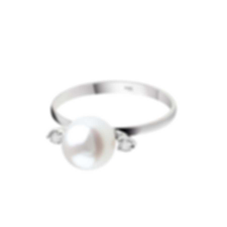 Bliss By Damiani 18k White Gold Diamond 0.035ct And Pearl Ring Sz 6.75 20084240