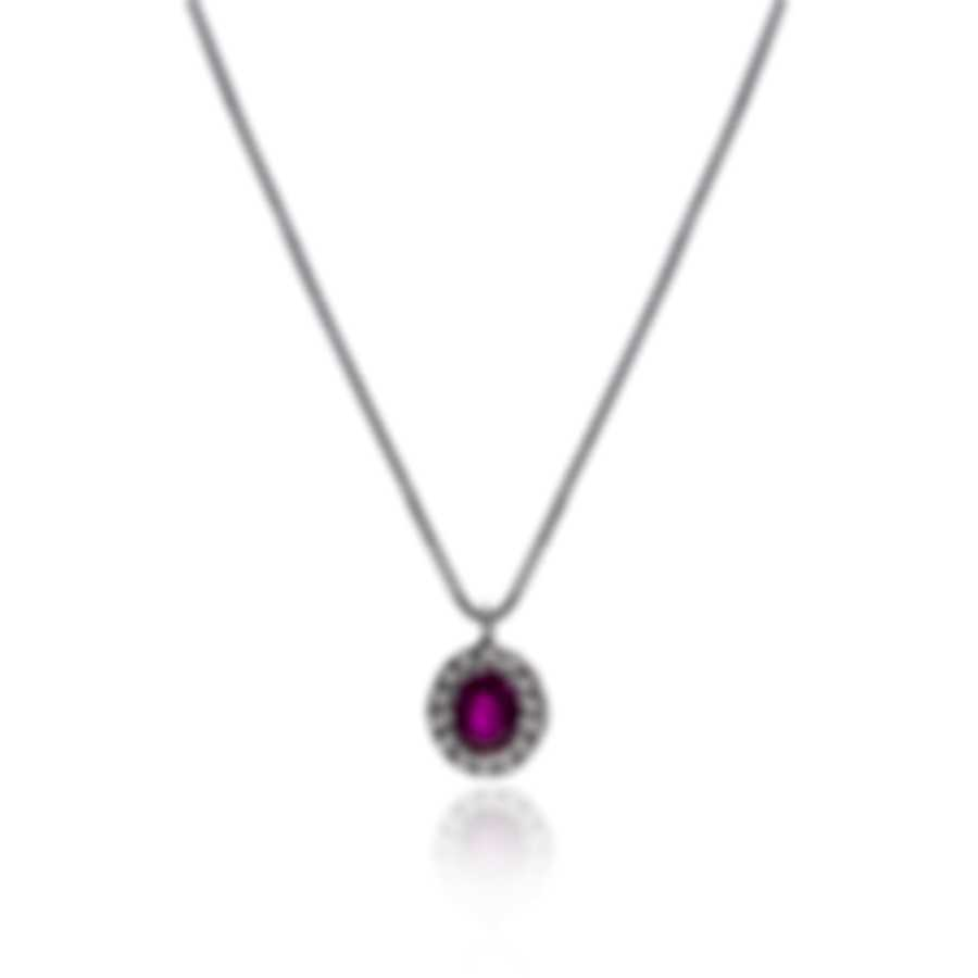 Bliss By Damiani 18k White Gold Diamond(0.07ct Twd) Ruby Necklace 20084274