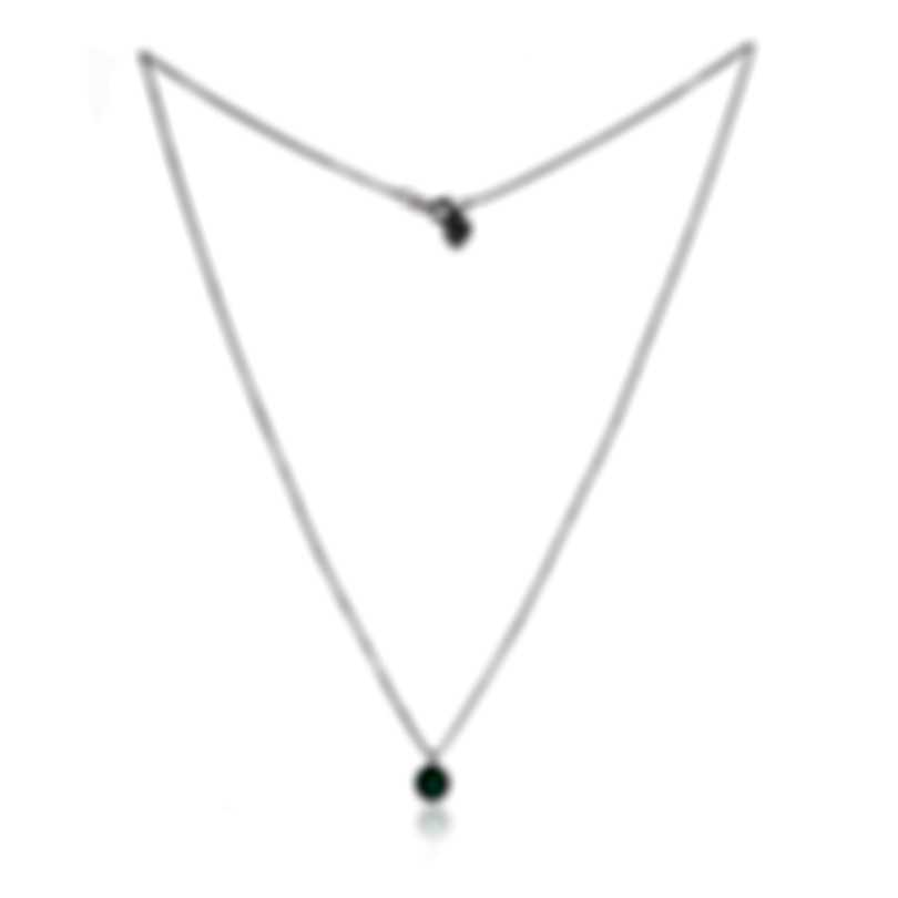 Bliss By Damiani 18k White Gold Diamond 0.07ct And Emerald Necklace 20084275