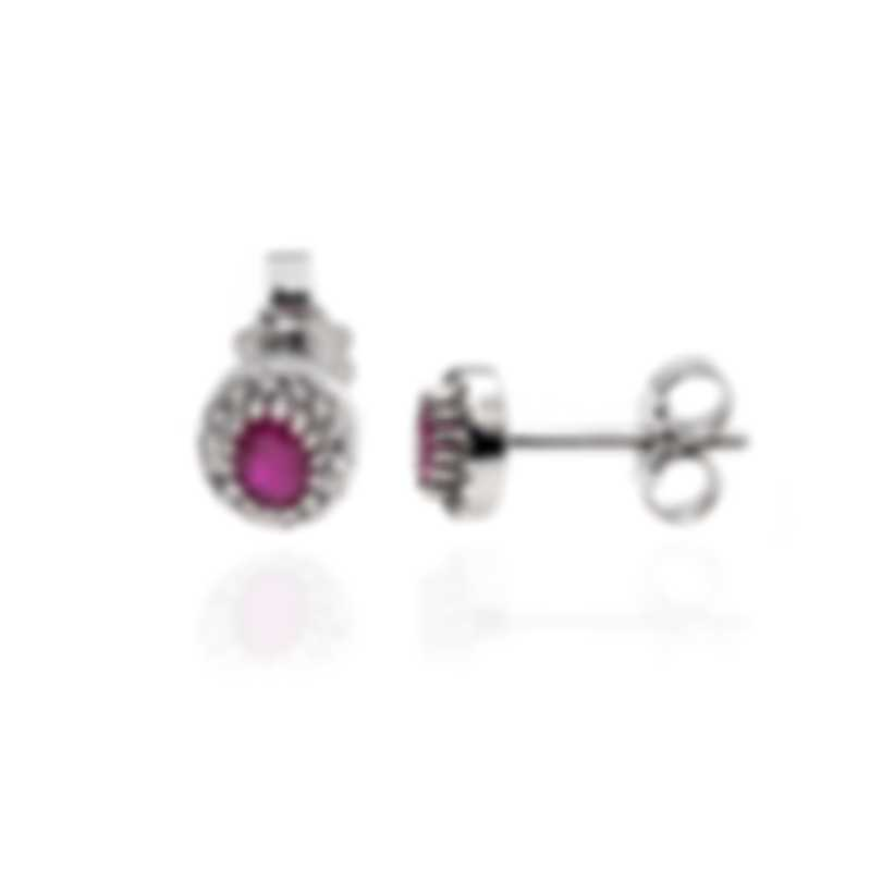 Bliss By Damiani 18k White Gold Diamond 0.14ct And Ruby Earrings 20084277