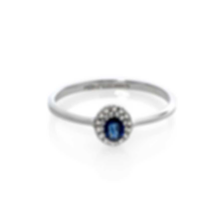 Bliss By Damiani 18k White Gold Diamond 0.07ct & Sapphire Ring Sz 6.25 20084270