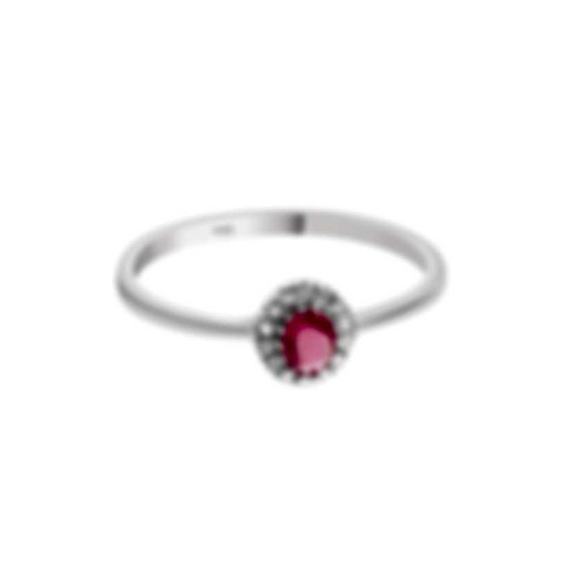 Bliss By Damiani 18k White Gold Diamond 0.07ct And Ruby Ring Sz 6.5 20084271