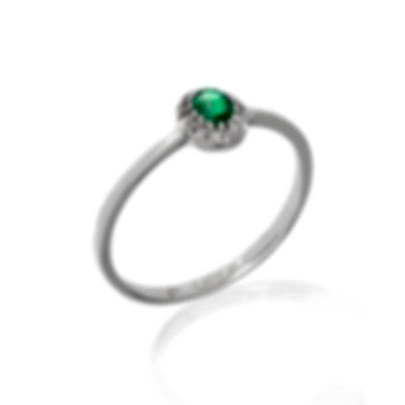 Bliss By Damiani 18k White Gold Diamond 0.07ct And Emerald Ring 20084272-1-1
