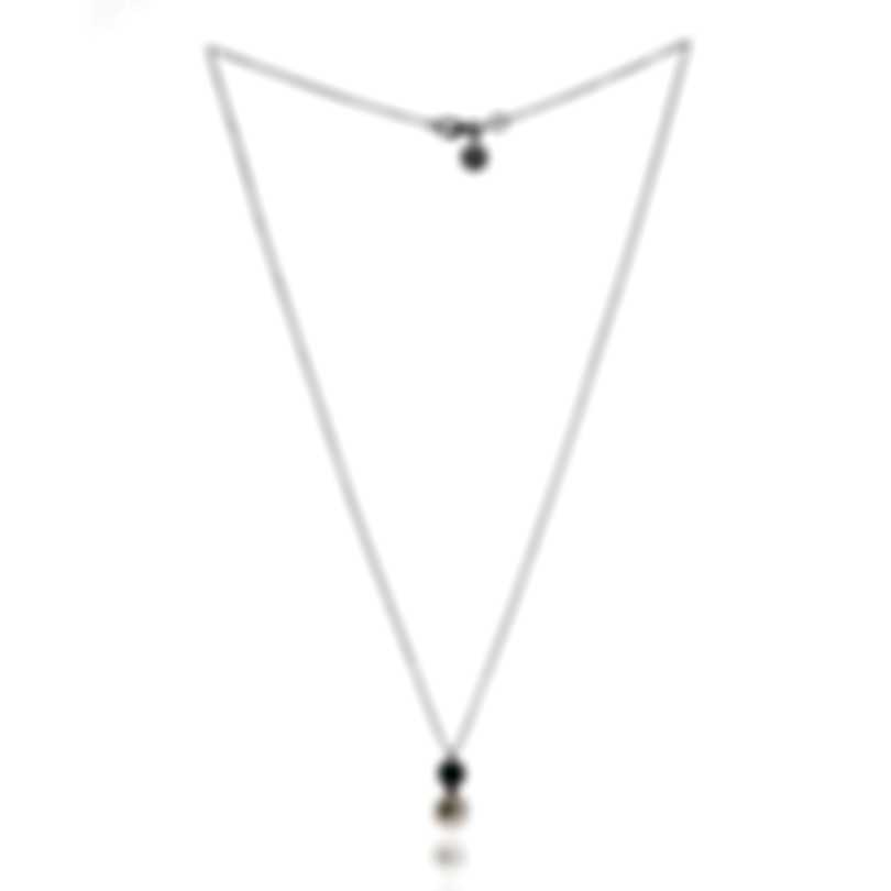 Bliss By Damiani 18k White Gold Diamond 0.11ct And Emerald Necklace 20080040