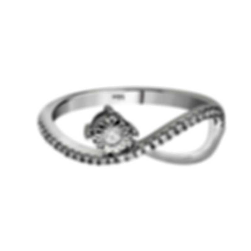 Bliss By Damiani 18k White Gold Diamond 0.1ct Ring Sz 6.25 20081299