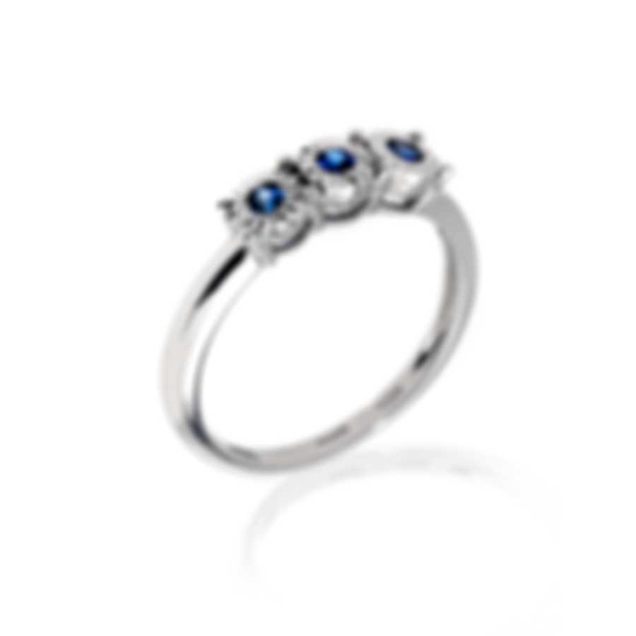 Bliss By Damiani 18k White Gold And Sapphire Ring Sz 6.25 20082840