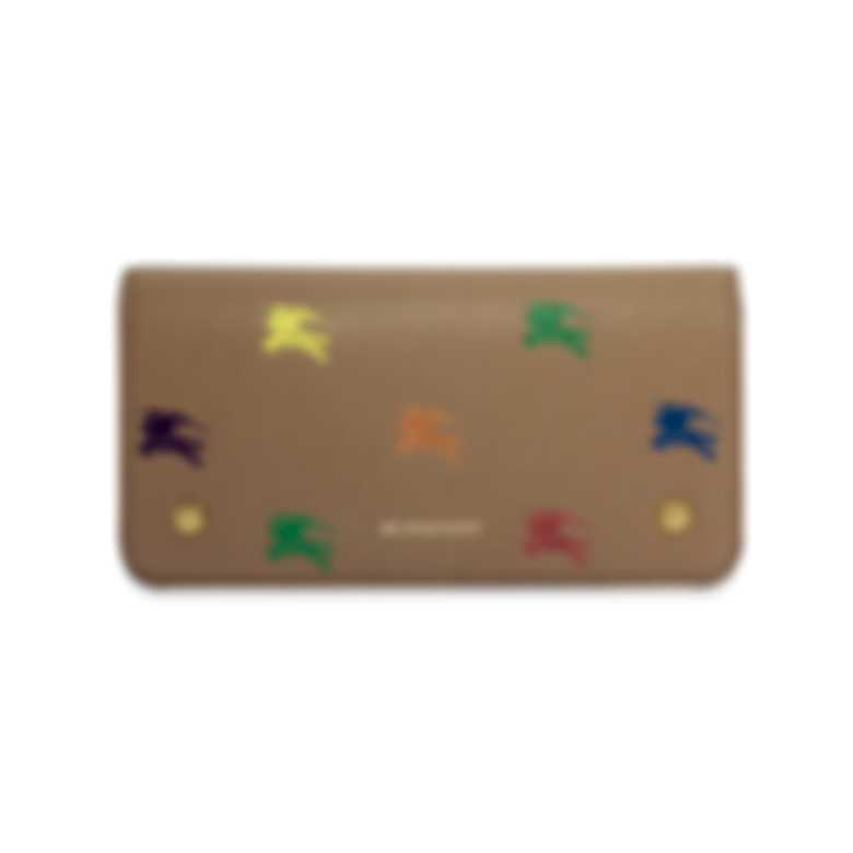 Burberry Knight's Multicolor Equestrian Light Camel Rose Leather Wallet 8005829